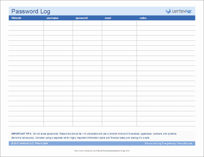 Password Log Template Pdf Unique Password Log Template