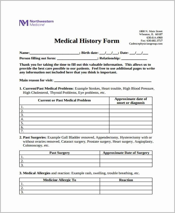 Patient Medical History form Template Fresh Free 35 Medical form In Templates