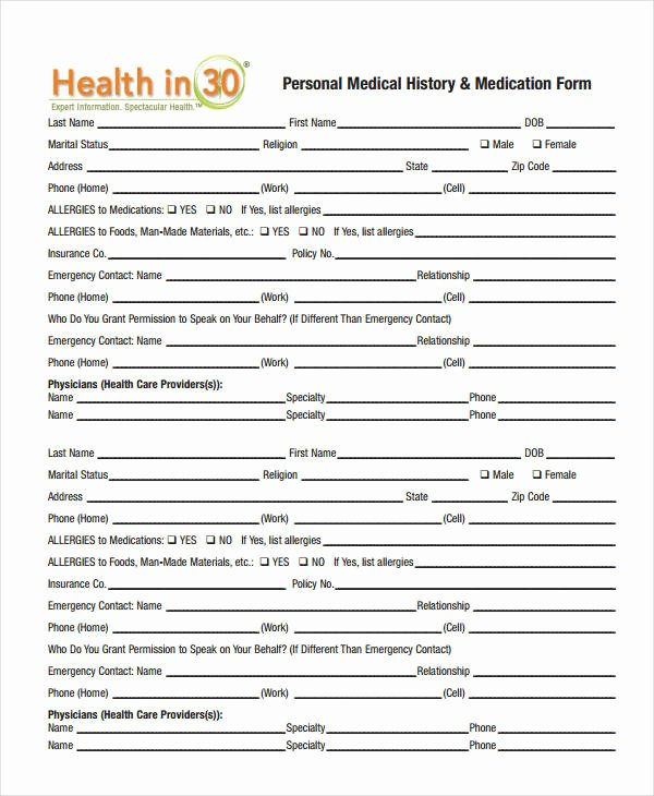 Patient Medical History form Template Inspirational Medical History form 9 Free Pdf Documents Download