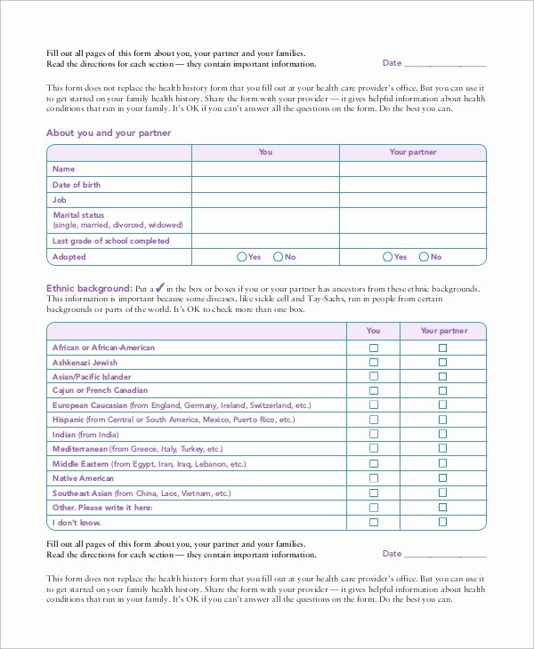 Patient Medical History form Template New Sample Medical History form 10 Examples In Word Pdf