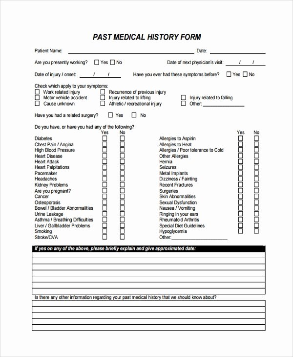 Patient Medical History form Template New Sample Medical History Template 9 Free Documents