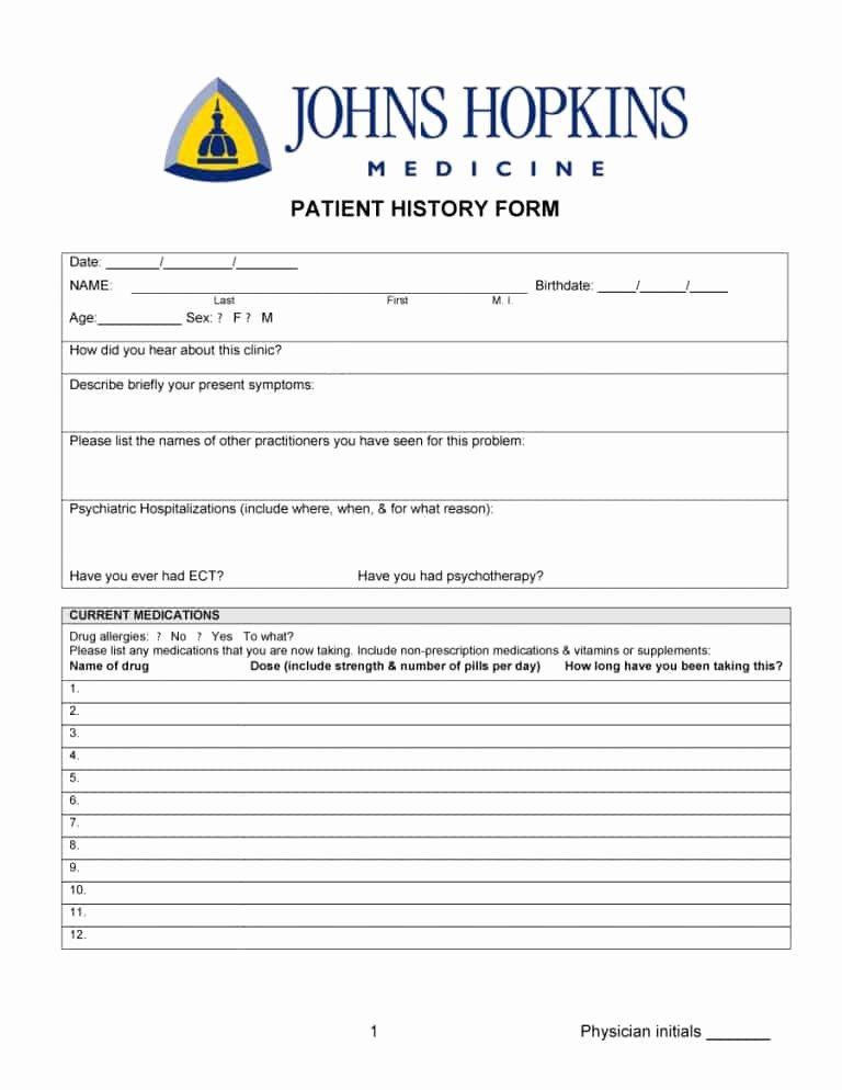 Patient Medical History form Template Unique 67 Medical History forms [word Pdf] Printable Templates