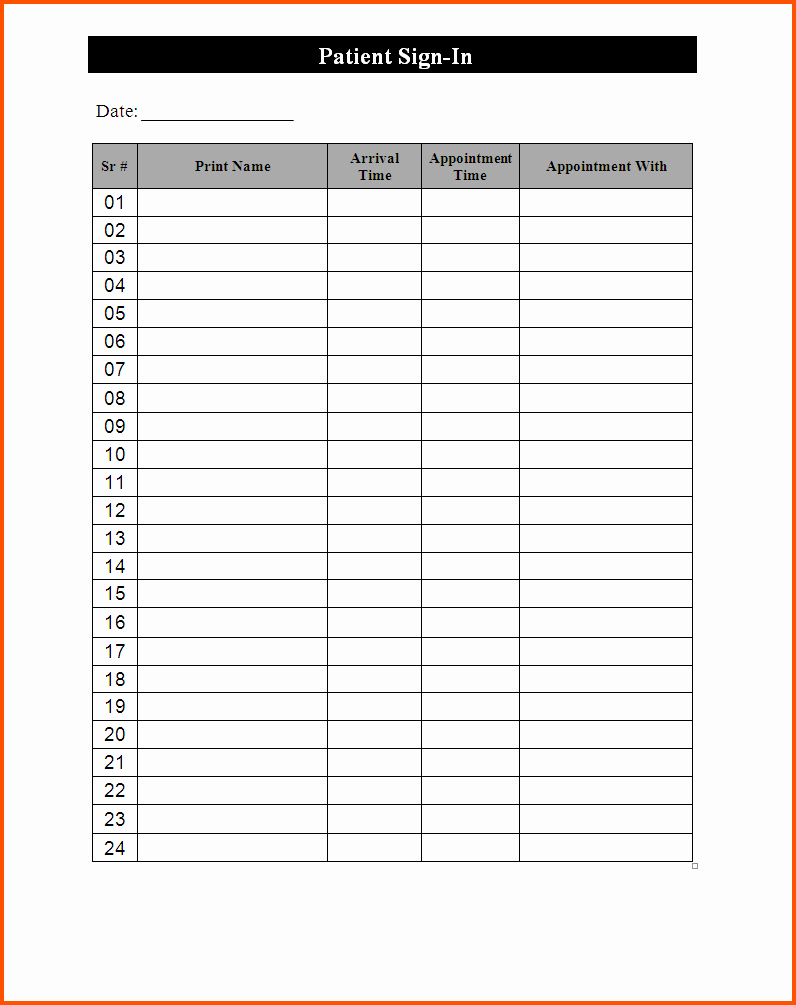 Patient Sign In Sheet Template Best Of 10 Template for Sign In Sheet