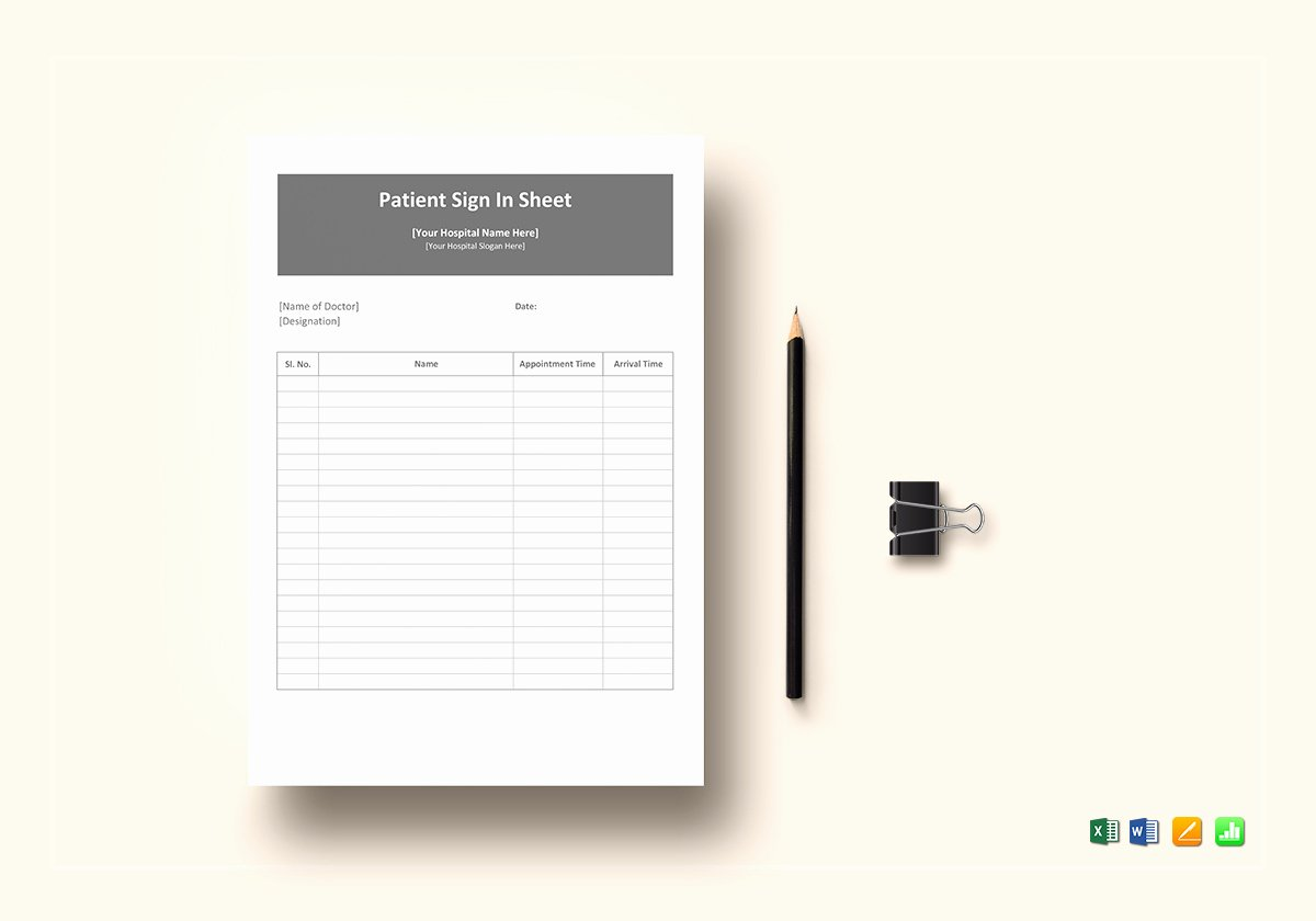 Patient Sign In Sheet Template Lovely Patient Sign In Sheet Template In Word Excel Apple Pages
