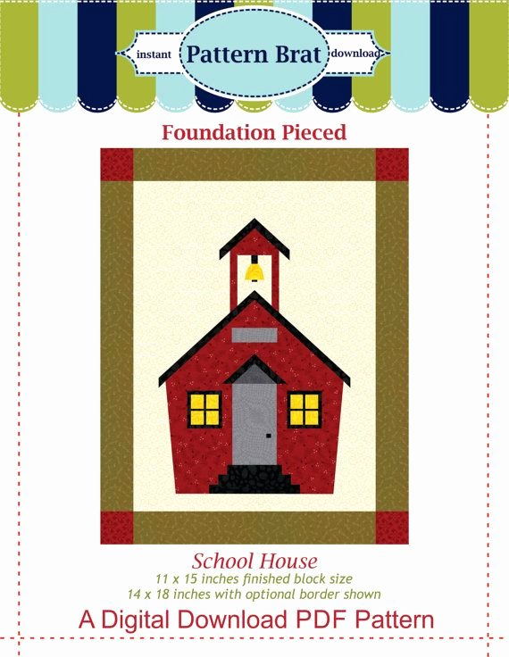 Pattern Block Templates Pdf Awesome School House Quilt Block Pattern Instant Download This