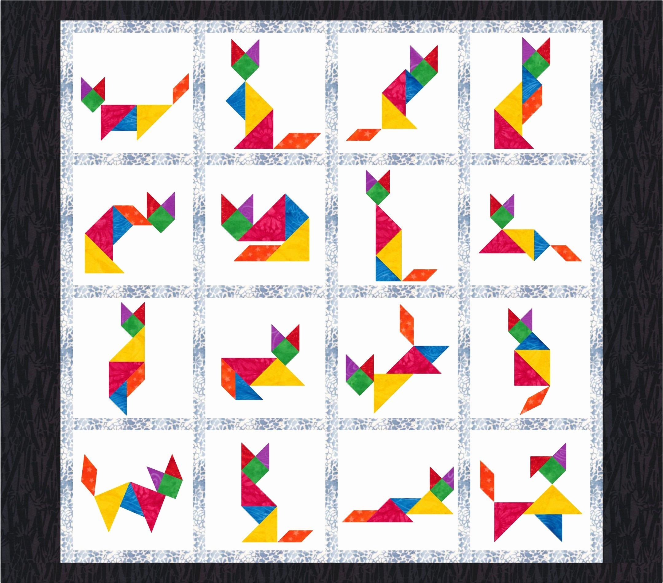 Pattern Block Templates Pdf Beautiful Tangram Cats 16 Quilt Block Patterns Foundation Paper
