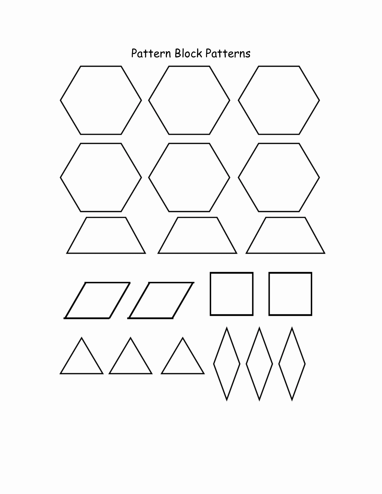 Pattern Block Templates Pdf Elegant Pattern Block Templates