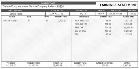 Pay Stub Template Word Beautiful 24 Pay Stub Templates Samples Examples & formats