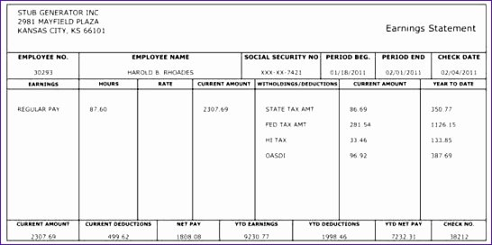 Pay Stub Template Word Lovely 10 Payroll Check Template Excel Exceltemplates