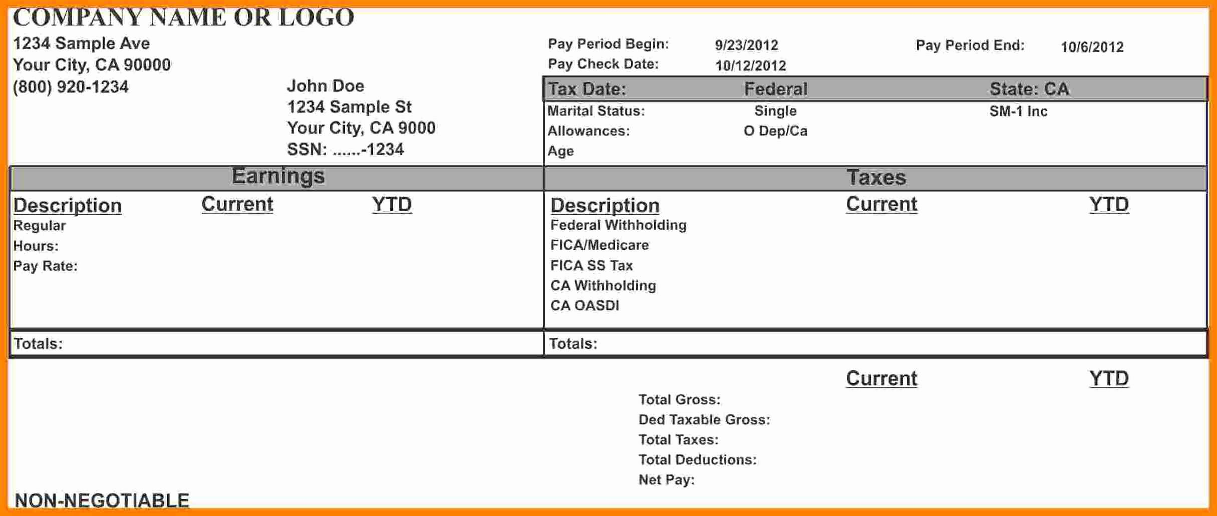 Pay Stub Template Word New 8 Microsoft Word Pay Stub Template