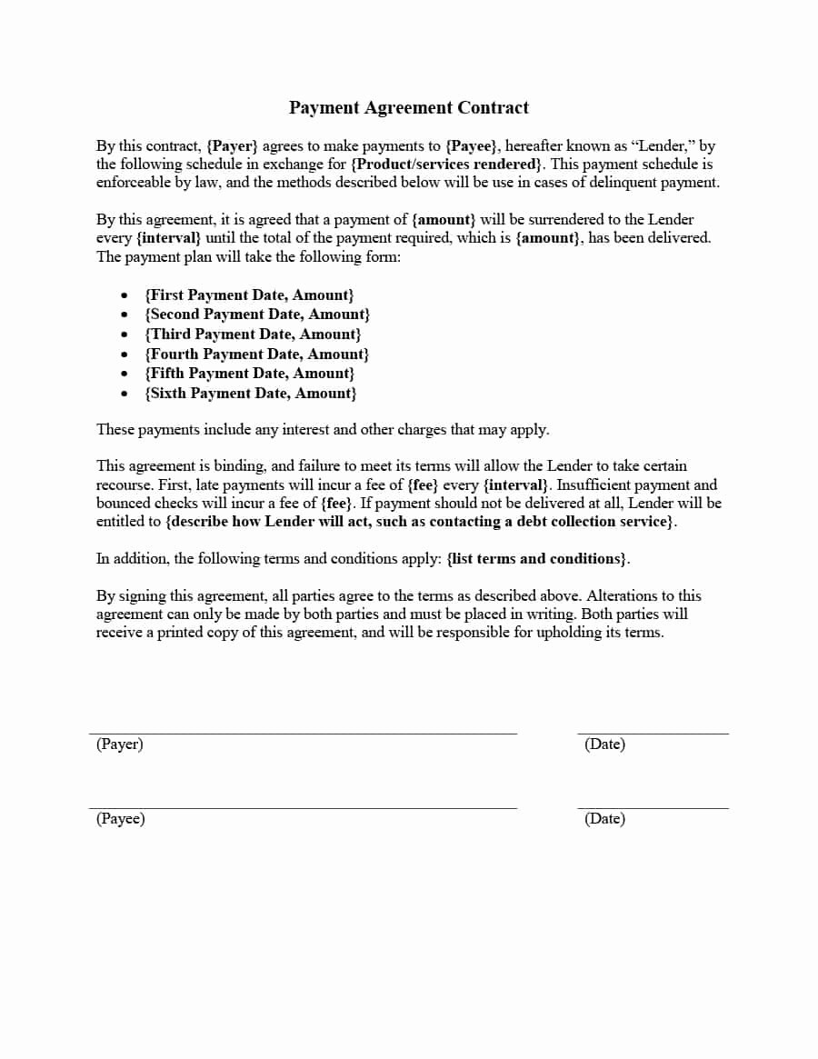 Payment Plan Agreement Template Lovely Payment Agreement 40 Templates & Contracts Template Lab