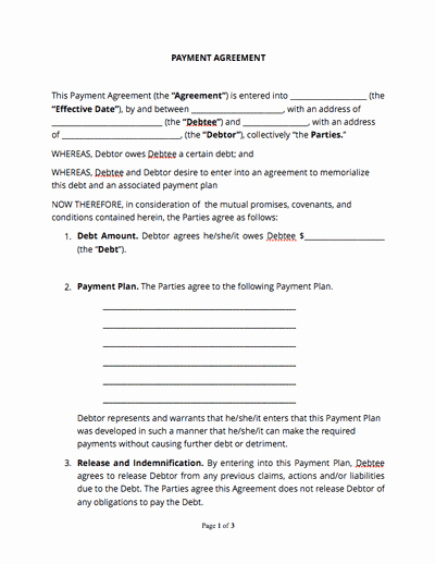 Payment Plan Agreement Template Word New Payment Agreement Template Free Sample Docsketch