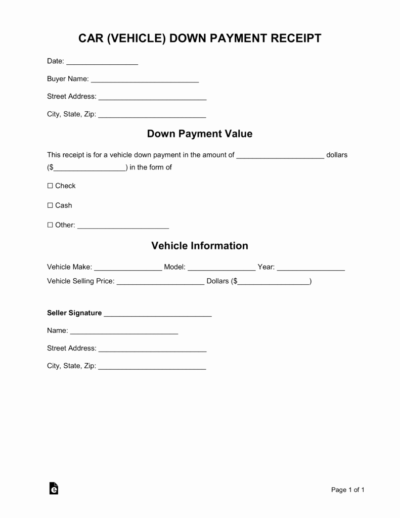 Payment Receipt Template Word Luxury Free Car Vehicle Down Payment Receipt Template Word