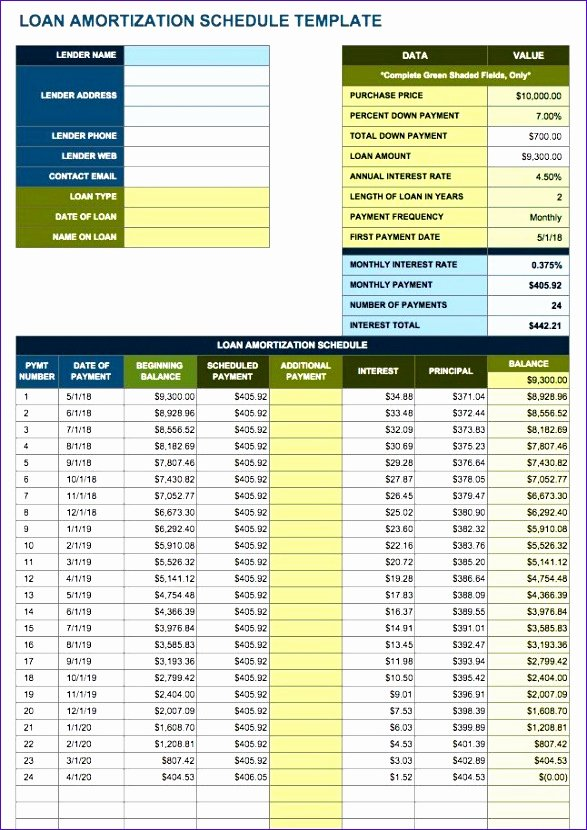 amortization table excel template s9762
