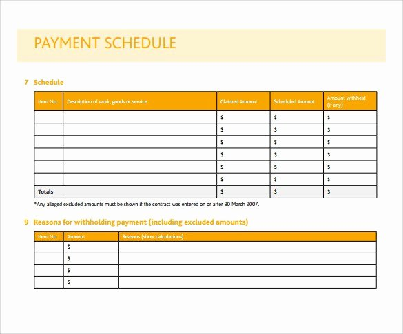 Payment Schedule Template Excel Elegant Simple Project Payment Schedule Templates Excel Template