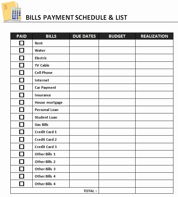 Payment Schedule Template Excel Fresh Bill organizer Template Excel