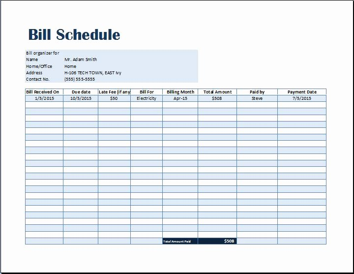 Payment Schedule Template Excel Lovely Bill Payment Schedule Template