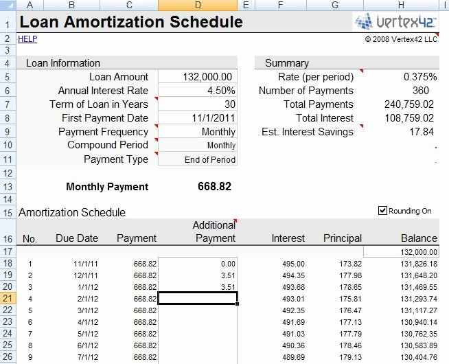 Payment Schedule Template Excel Lovely even Small Amounts Have A Big Impact when Prepaying the