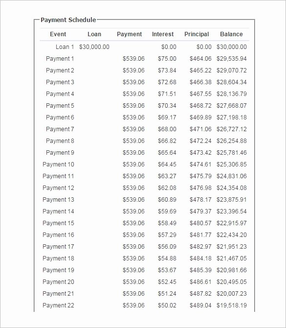 Payment Schedule Template Excel New 12 Loan Payment Schedule Templates Free Word Excel
