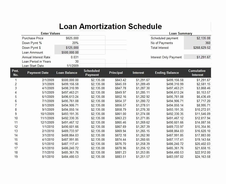 Payment Schedule Template Excel Unique 28 Tables to Calculate Loan Amortization Schedule Excel
