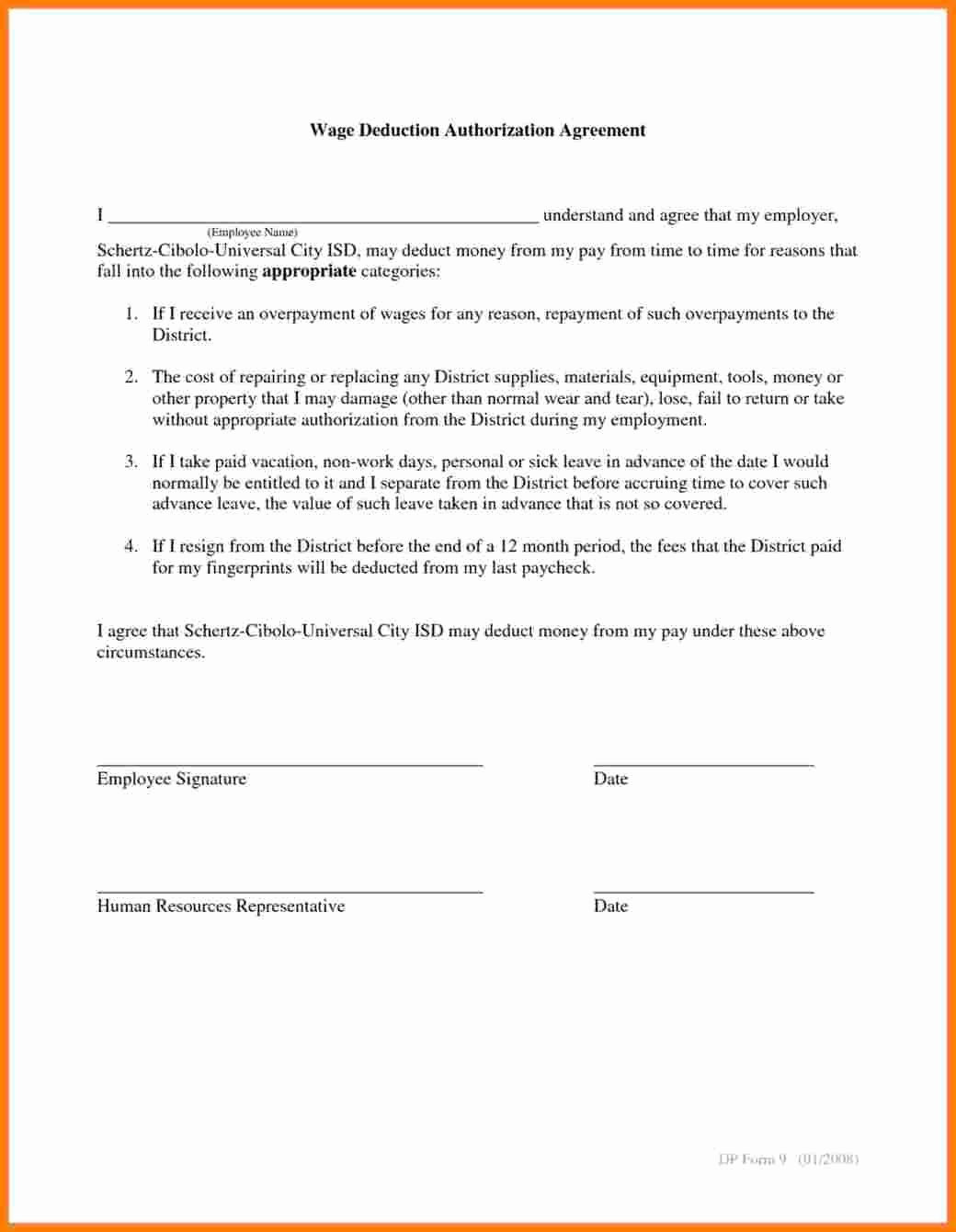 Payroll Deduction Authorization form Template Awesome 6 Payroll Deduction form Template