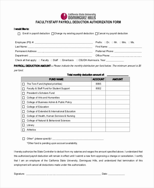 Payroll Deduction Authorization form Template Best Of Sample Payrolle Deduction form 12 Free Documents In Pdf