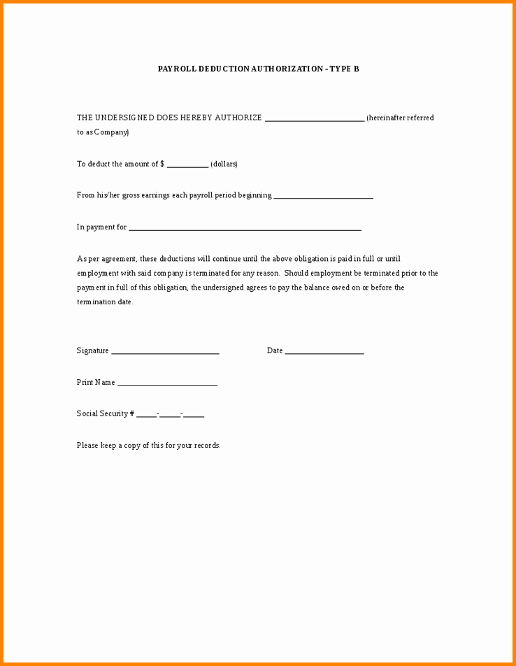 Payroll Deduction Authorization form Template Elegant 5 Employee Payroll Deduction Authorization form