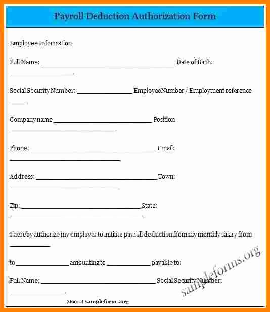 Payroll Deduction Authorization form Template Fresh 5 Payroll Deduction Authorization form Template