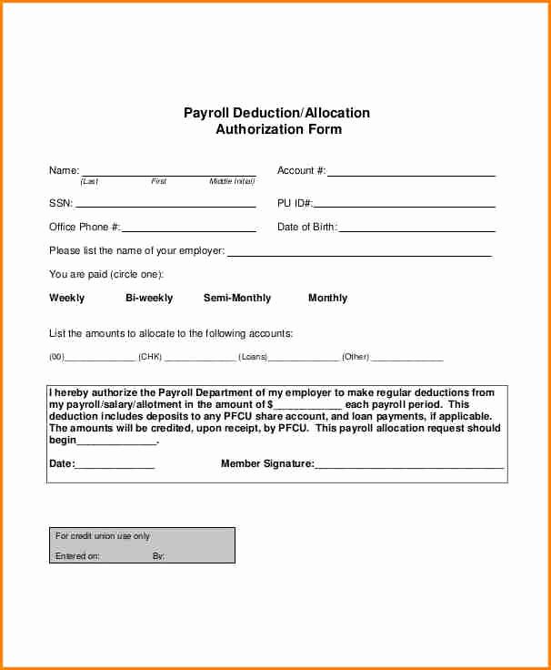Payroll Deduction Authorization form Template Fresh 9 Payroll form Templates