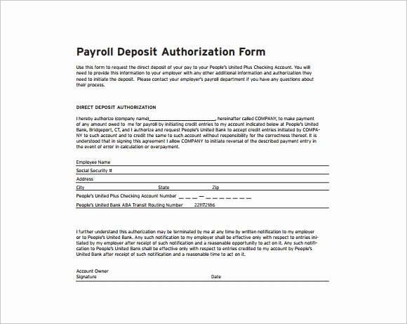 Payroll Deduction Authorization form Template Fresh Free 6 Payroll Authorization forms In Pdf