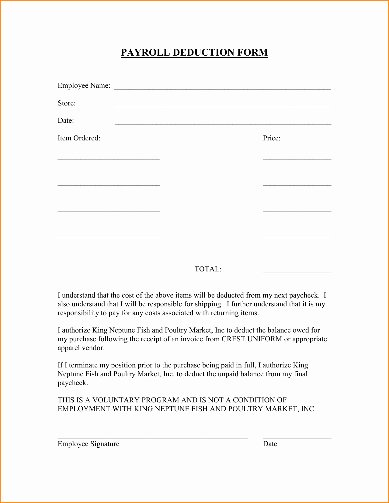 Payroll Deduction Authorization form Template New 12 Uniform Payroll Deduction form