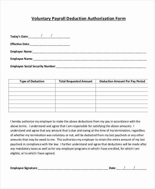 Payroll Deduction Authorization form Template New Payroll Deduction Authorization form Template