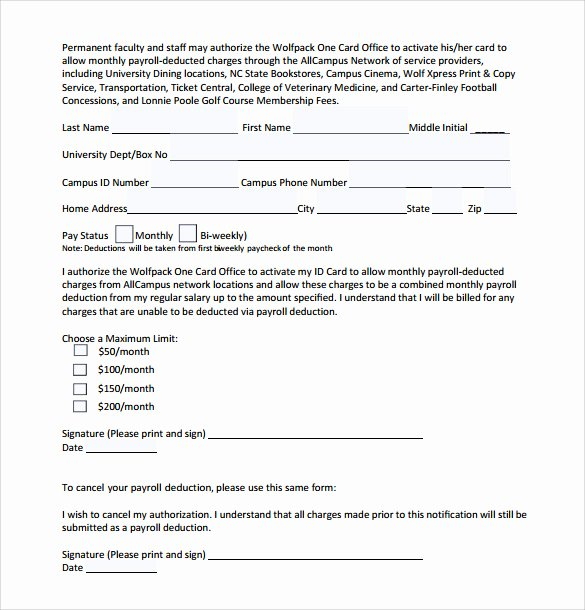 Payroll Deduction Authorization form Template New Sample Payroll Deduction form 10 Download Free Documents