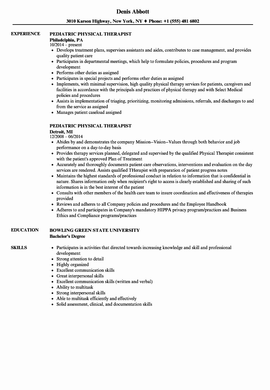 Pediatric Physical therapy Evaluation Template New Pediatric Physical therapist Resume Samples