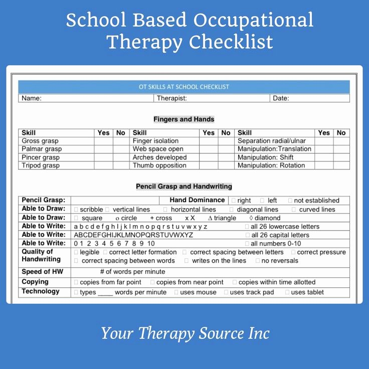 Pediatric Physical therapy Evaluation Template Unique School Based Occupational therapy Screening form Checklist