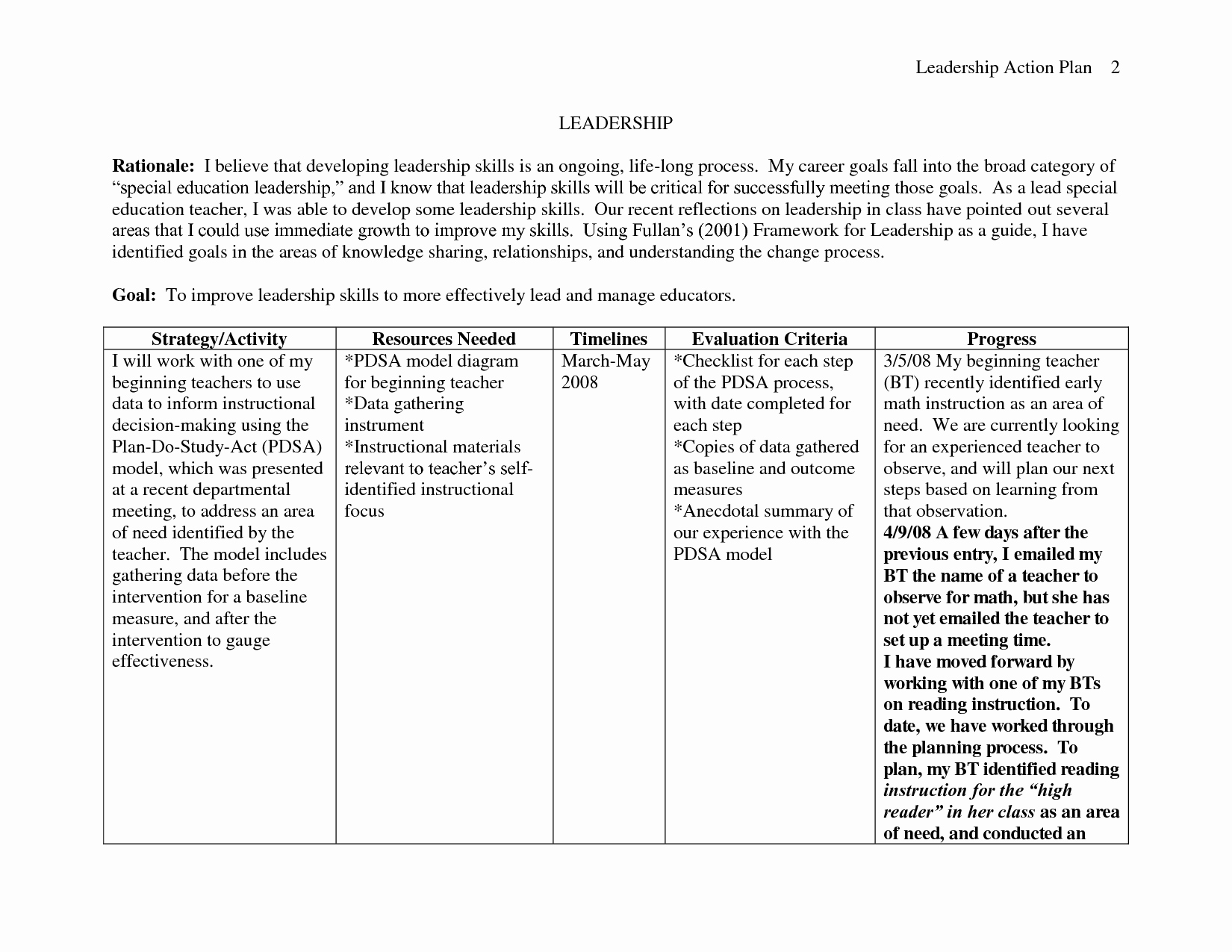 Personal Action Plan Template Awesome Personal Leadership Action Plan Sample