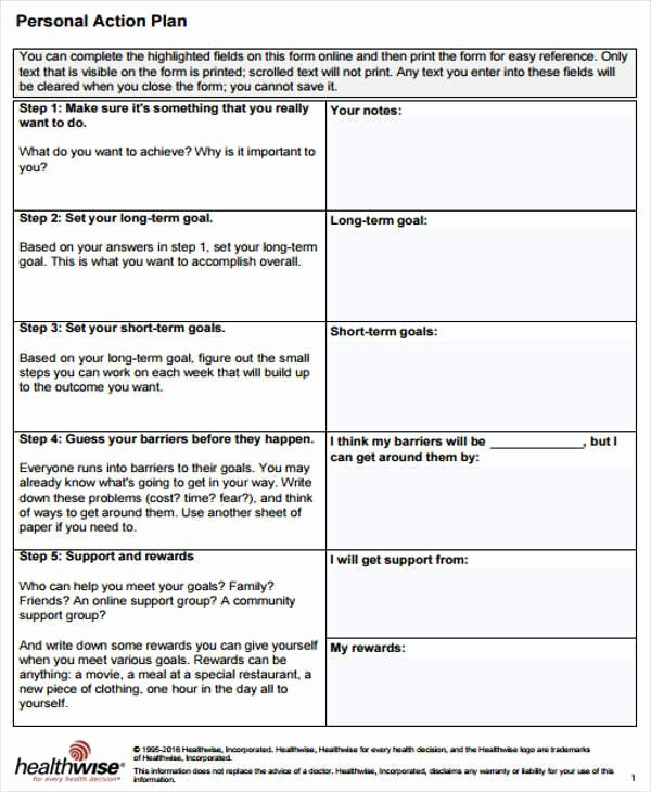 Personal Action Plan Template Fresh 11 Personal Plan Samples & Templates Pdf Docs Word