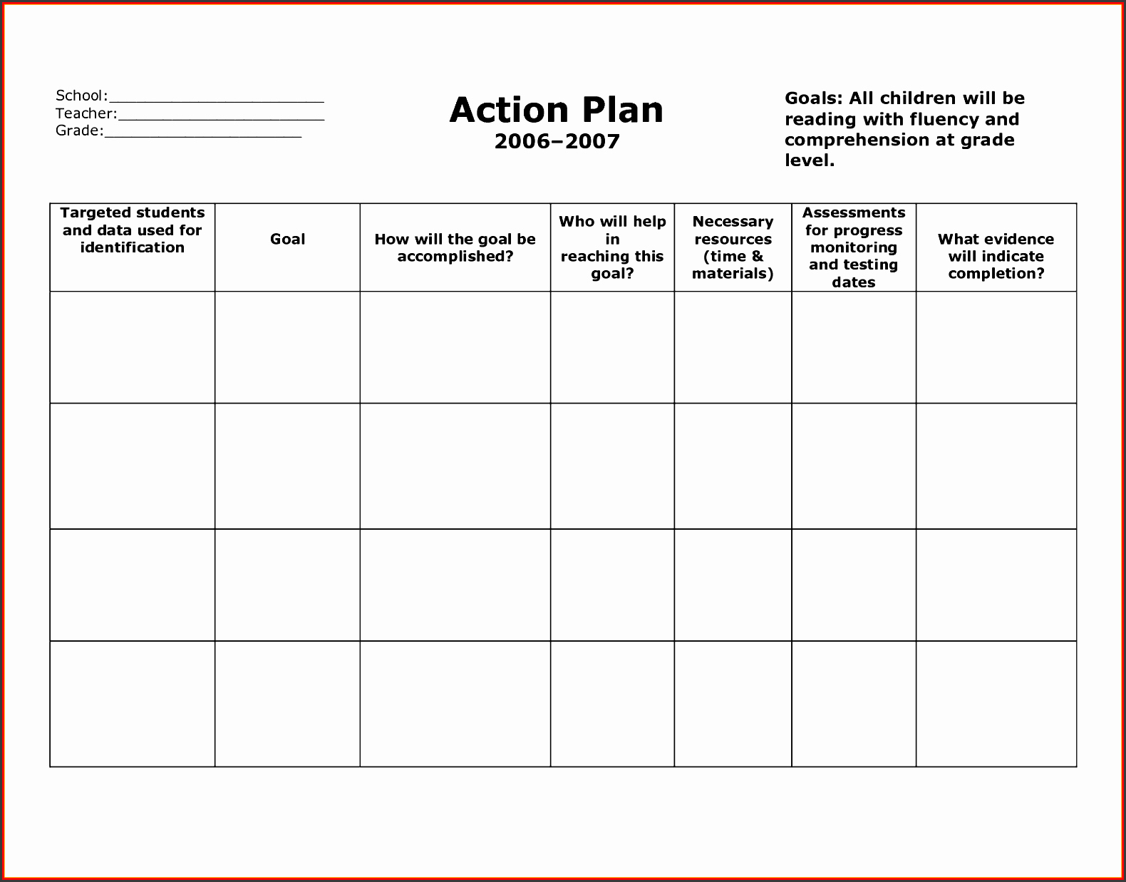Personal Action Plan Template Fresh 6 General Action Plan Template Sampletemplatess