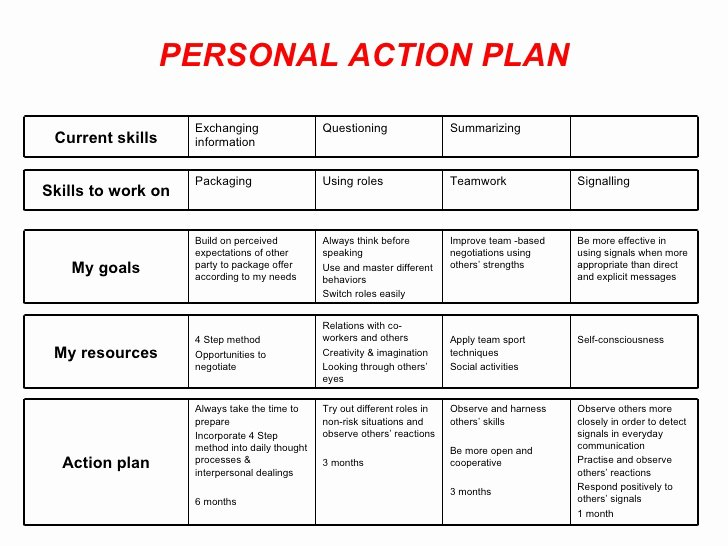 Personal Action Plan Template Fresh Personal Action Plan