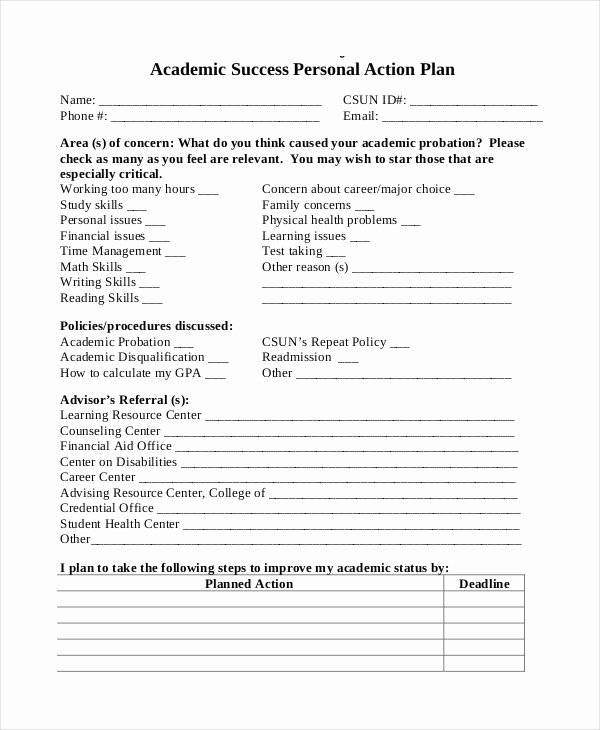 Personal Action Plan Template Lovely Student Action Plan Template 9 Free Word Pdf format