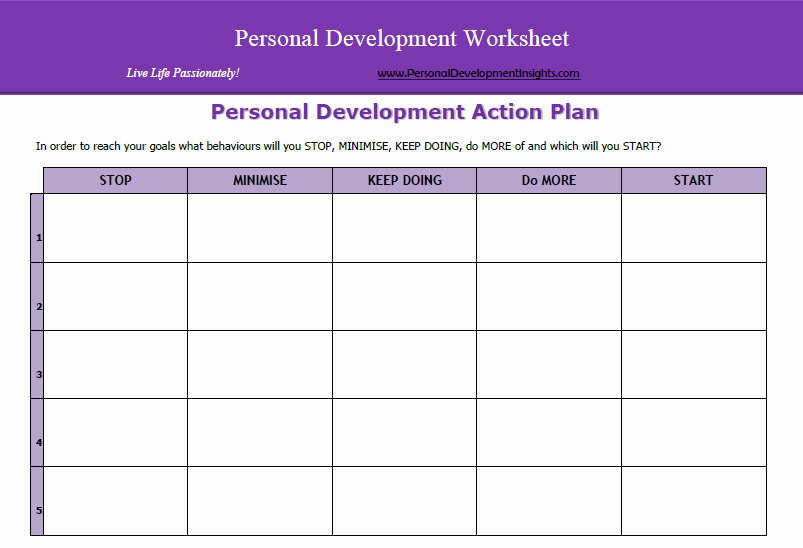 Personal Action Plan Template Unique Personal Development Worksheets Free