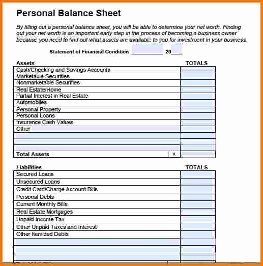 Personal Balance Sheet Template Awesome Personal Balance Sheet Example