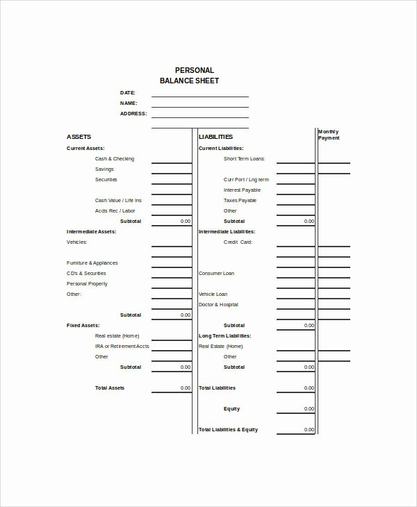 Personal Balance Sheet Template Best Of Balance Sheet Example 8 Samples In Word Pdf