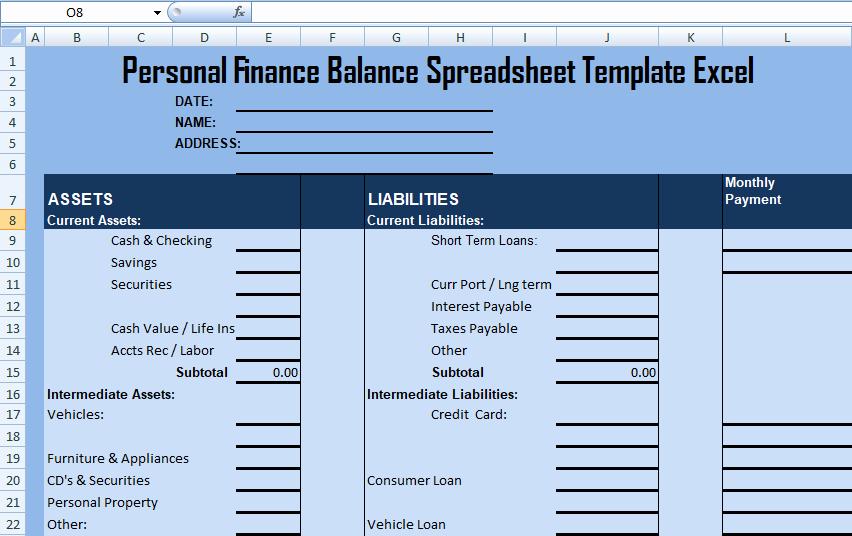 Personal Balance Sheet Template Elegant Personal Finance Balance Spreadsheet Template Excel