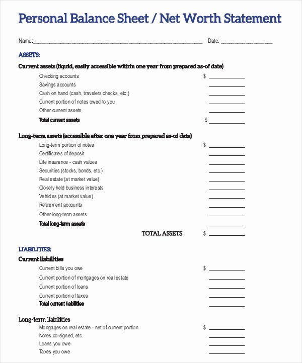 Personal Balance Sheet Template Inspirational 22 Balance Sheet Examples Download In Word Pdf