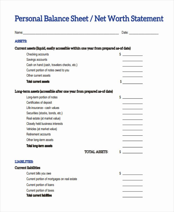 Personal Balance Sheet Template Luxury 28 Sheet Templates In Pdf