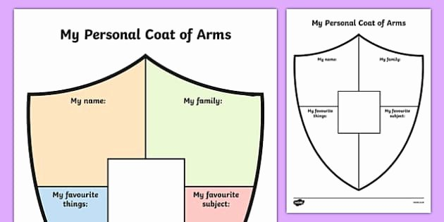 Personal Coat Of Arms Template Fresh Free Personal Shield Transition Writing Frame Writing