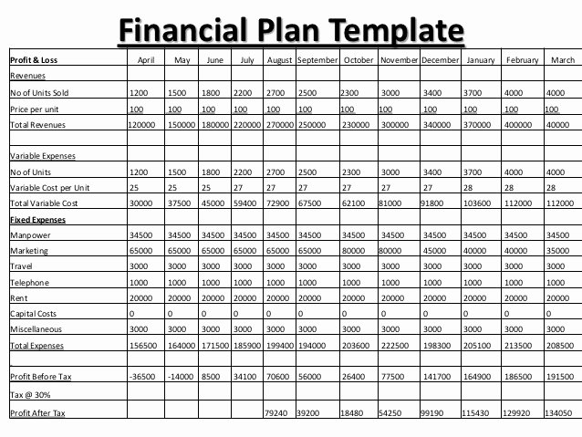 Personal Finance Plan Template Awesome Business Plan Financials – Business form Templates