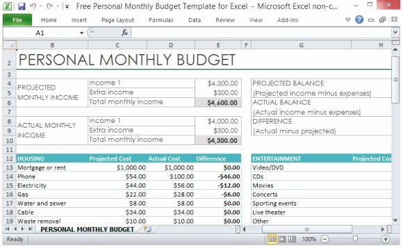 Personal Finance Plan Template Elegant Free Personal Monthly Bud Template for Excel