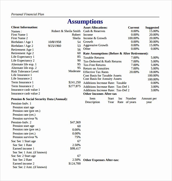 Personal Finance Plan Template Lovely Sample Financial Plan 10 Documents In Word Pdf Excel